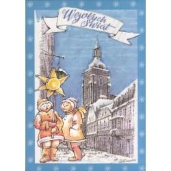WID-NS01 Wesołych świąt: Namysłów, kościół św.  Ap. Piotra i Pawła, kolędnicy - grafika Kazimierz Drapiewski