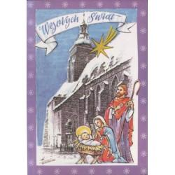 WID-NS03 Wesołych Świąt: Namysłów, kościół św.  Ap. Piotra i Pawła, kolędnicy - grafika Kazimierz Drapiewski, Boże Narodzenie