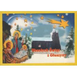 WID-NS06 Wesołych Świąt z Głuszyny, Głuszyna - kościół, Boże Narodzenie