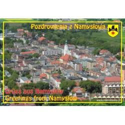Magnes na lodówkę, 150x105 mm, panorama Namysłowa, pozdrowienia