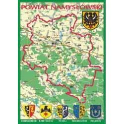 WID-N087 Powiat Namysłowski (mapka), herby gmin: Domaszowice, Namysłów, Pokój, Świerczów, Wilków